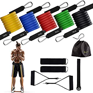 Portzon Resistance Band Set, Workout Bands, Exercise Bands Door Anchor Handle Resistance Training, Convenient, Durable, Exercise Stack-able Up to 100 lbs