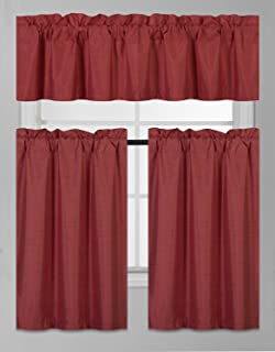 Elegant Home Collection 3 Piece Solid Color Faux Silk Blackout Kitchen Window Curtain Set with Tiers and Valance Solid Color Lined Thermal Blackout Drape Window Treatment #K3 (Burgundy)