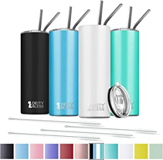 4 Pack Stainless Steel Skinny Tumbler, 20 OZ Double-Insulated Water Tumbler Cup With Lid and 8 Straw, Vacuum Travel Mug Gift for Hot Cold Drinks with Cleaning