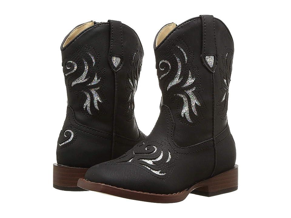 Roper Kids Glitter Breeze (Toddler) (Black Faux Leather Vamp & Shaft) Cowboy Boots