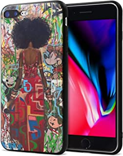 iPhone 7 Case iPhone 8 Case African American Afro Girls Women Slim Fit Shockproof Bumper Cell Phone Accessories Thin Soft Black TPU Protective Apple iPhone 7 Cases Apple iPhone 8 Cases (05)