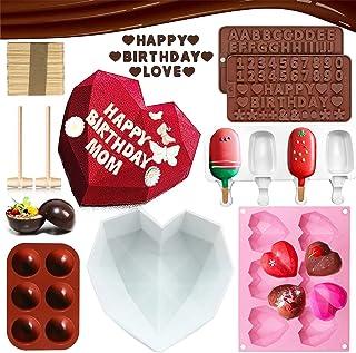 Exzycke (7 قطع) 8.7 بوصة قالب كيك على شكل قلب ماسي من السيليكون ، 6 أكواب من الماس ، 2 قوالب شوكولاتة ، 1 قطعة قالب مصاصات...
