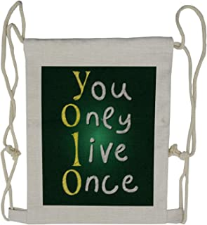 Ambesonne YOLO Drawstring Backpack, School Board and Chalk, Sackpack Bag