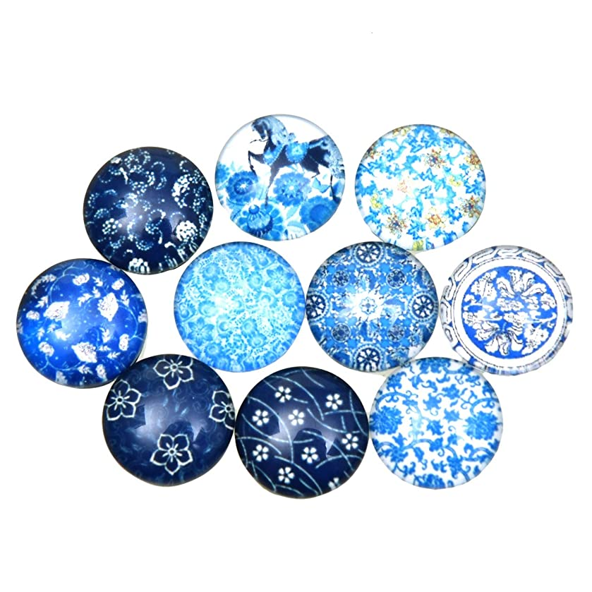 Monrocco 100Pcs 12mm Half Round Domed Cabochon Beads Floral Printed Glass Cabochons for Jewelry Making
