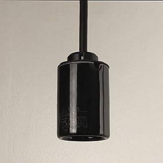 1灯用 陶器製 モーガルソケット ペンダント器具 キャブタイヤコード 30cm 黒 白熱灯 LED電球対応 日本製