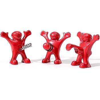 Bi/ère Ouvre Bouteille- Le pour Cadeau No/ël Anniversaire Vin Bouchon CENXINY Tire Bouchon Happy Man 3 Pack D/écapsuleur de Vin Trois Mignons Hommes Rouges Tire-Bouchons