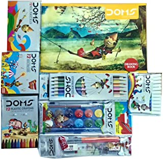 Drawing Book + 12 Shade Water Colour Cakes + 12 Bicolour Pencils + 12 Oil Pastels + 12 Extra Long Wax Crayons + 12 Plastic Crayons + Pencil Kit
