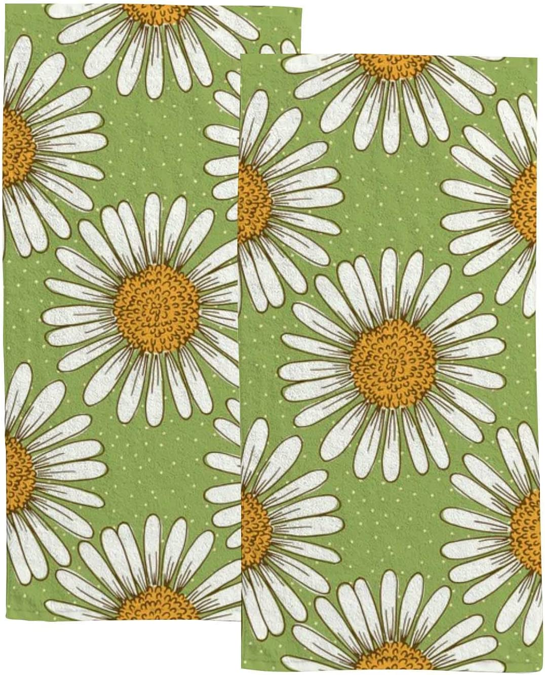 70% OFF Clearance SALE! Limited time! Outlet Vantaso Daisy Flower on Green Hand 2 Bathroom Towels for Kit Set