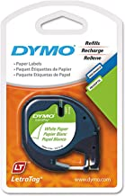Dymo 10697 Self-Adhesive White Paper Labeling Tape for LetraTag (LT) Label Makers; 4 Blister Packs (8 Refills); Each Blister Pack with Hang Hole contains Two 1/2