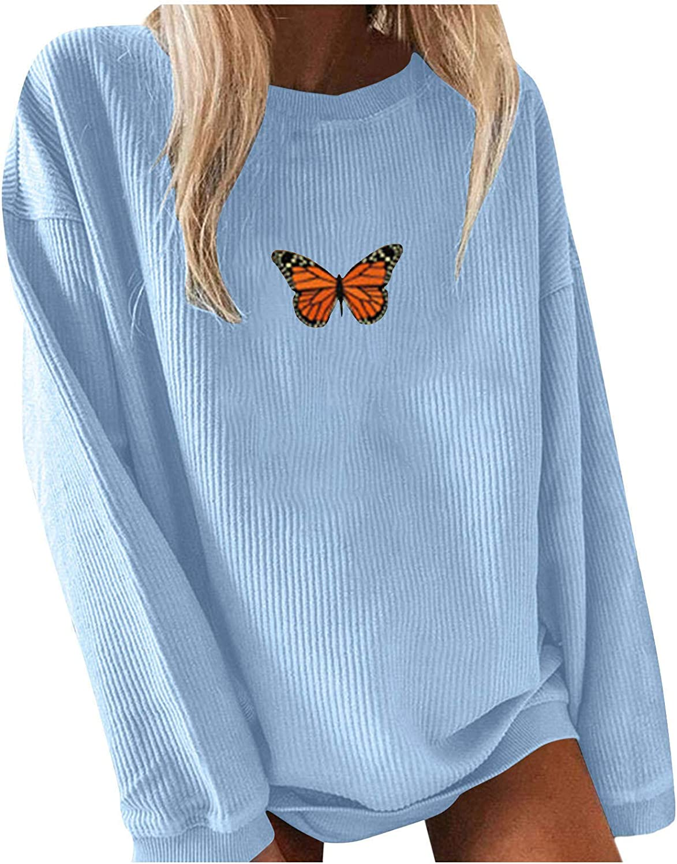 Women's Long Sleeve Ribbed Sweatshirt Cute Butterfl Print Crewneck Casual Crewneck Tops Butterfl Lover Gifts.S-4XL