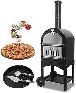 Four à pizza extérieur - Grille à pizza portable en acier inoxydable à 2 couches, chauffe-pizza au feu de bois pour jardi...