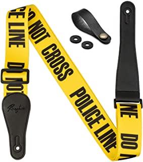 """Rinastore Guitar Strap Yellow""""POLICE LINE"""" Includes Strap Button & 2 Strap Locks For Bass, Electric & Acoustic Guitars Yellow"""