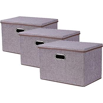 折り畳み 収納ボックス <3個セット> ふた付き おしゃれ 整理箱 収納ケース 大容量収納 大型グレー無臭綿麻蓋付き収納ボックス 金属取っ手 衣類収納 小物収納 おもちゃ収納 リビング 玄関 寝室適用