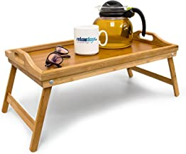 Relaxdays Bamboo Folding Serving Tray Size: 21.5 x 47 x 27 cm Foldable Bed Table Serving Tray for Breakfast and Snacks and Lap Table or Knee Table with Handles Easy to Clean, Natural Brown