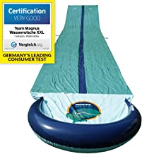TEAM MAGNUS Water Slide for Garden Play: 31 Foot Slip and Slide for Races with Heavy-Duty Inflatable Crash pad