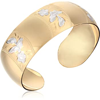 14k Gold-Filled Wide Satin and Hand Engraved Cuff Bracelet
