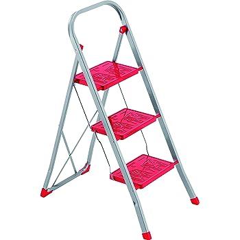 Framar Slimmy 3 - Escalera de acero, 3 peldaños, color rojo: Amazon.es: Hogar