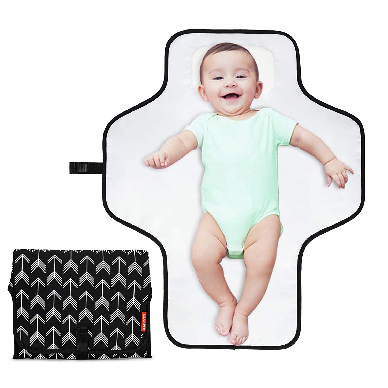 BABEYER Portable Changing Pad,Large Waterproof Diaper Changing Mat, Travel Mat Station for Toddlers Infants & Newborns
