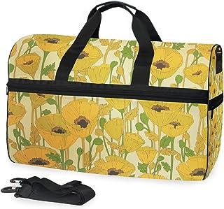 MONTOJ Riesige Reisetasche mit gelbem Blumenmuster, aus Segeltuch, Reisetasche