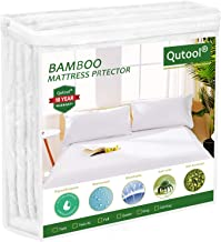 Qutool Cal King Size Waterproof Mattress Protector Cooling Bamboo Mattress Protector - Hypoallergenic Bed Mattress Pad Cov...