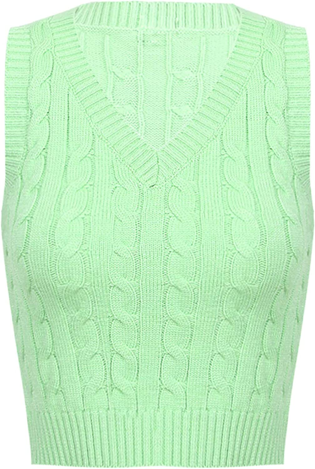 moily Women's Cable Knit Sweater Vest Preppy Style V Neck Sleeveless Sweater Waistcoats Tops