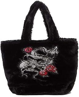 Bcher 90's Retro Soft Fuzzy Faux Fur Dragon Rose Embroidered Black Handbag Shoulder Bag