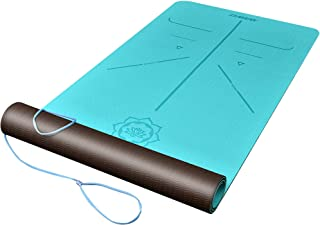 DAWAY Eco Friendly TPE Yoga Mat Y8 Wide Thick Workout Exercise Mat, Non Slip Grip Pilates Mats, Body Alignment System, Tea...