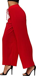 Premium Micro Pleated Palazzo Pants for Women - High Waisted - Regular and Plus Sizes