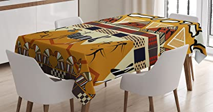 Ambesonne Ethnic Tablecloth, Style Hunting Zebra Illustration Prehistoric Tribe Life Theme Print, Dining Room Kitchen Rectangular Table Cover, 60