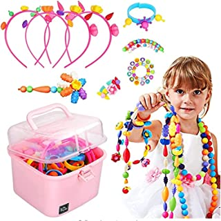 CharmCollection Pop Beads, 550+PCS DIY Bead Set Pop Art Beads Pop Snap Beads Set to Make Hairband Necklaces Bracelets Ring...
