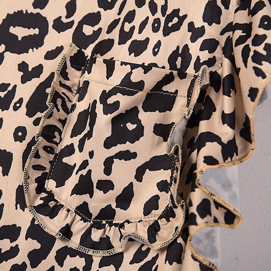 TWIFER Tops for Women Summer Blouse Short Sleeve Ladies Leopard Tops Casual Fashion Ruffles Cap Sleeves Tunics T-Shirts