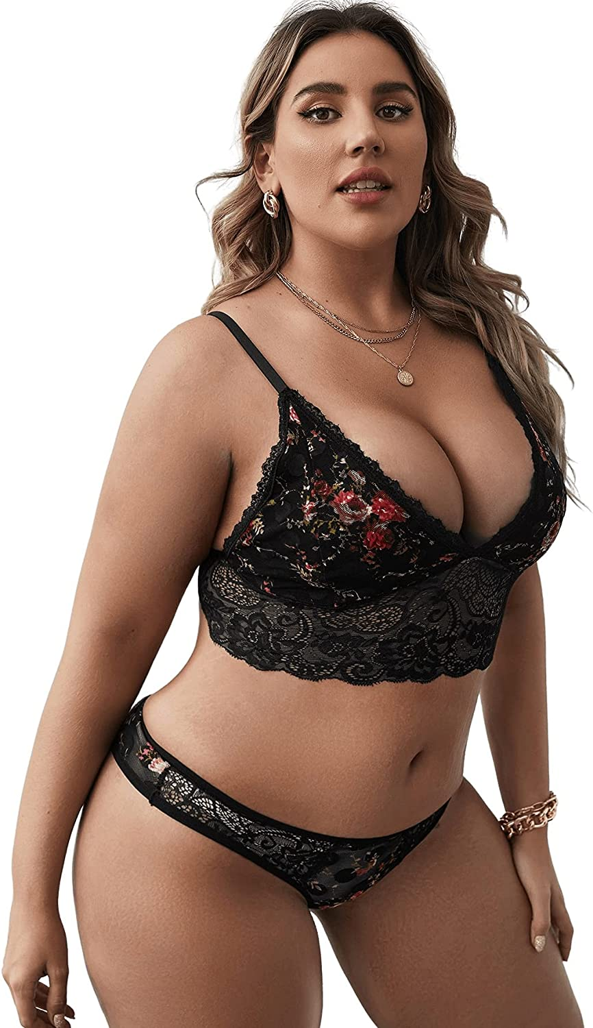 SheIn Women's Plus Size Floral Embroidery Lace Bralette and Panty Lingerie Set