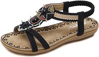 9cc88e0705427 Sandales Femme Style Ethnique bohème Vintage Chaussures Plates avec des  Perles T-Bar Chaussures pour