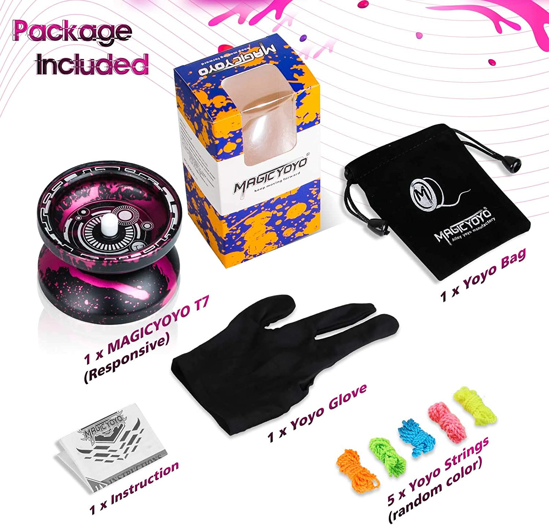 Yo-yo Bag Easy to Return and Practise String Tricks 5 Replacement Yoyo Strings Black MAGICYOYO T7 Metal Responsive Yoyo for Kids Yoyo for Beginners with Narrow C Bearing Glove Bonus