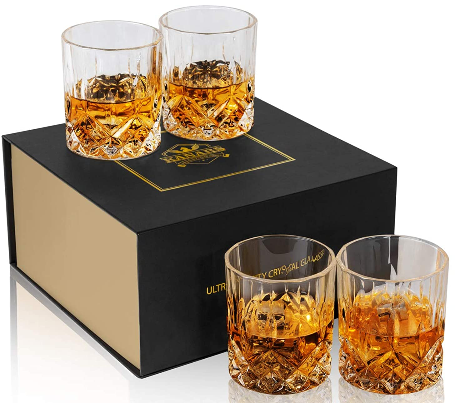 KANARS Double Old Fashioned Whiskey Glasses With Luxury Gift Box - Rocks Barware For Scotch, Bourbon, Liquor and Cocktail Drinks - Set of 4