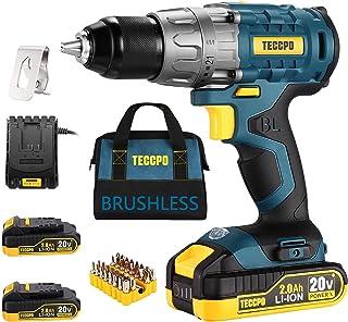 "TECCPO Cordless Drill Brushless, 20V Li-ion Drill Driver Set, 2 x 2.0Ah Batteries, 530 In-lbs Torque, 1/2""Keyless Chuck, 2..."
