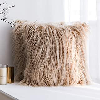 MIULEE Pack of 2 Decorative New Luxury Series Style Brown Faux Fur Throw Pillow Case Cushion Cover for Sofa Bedroom Car 18 x 18 Inch 45 x 45 cm