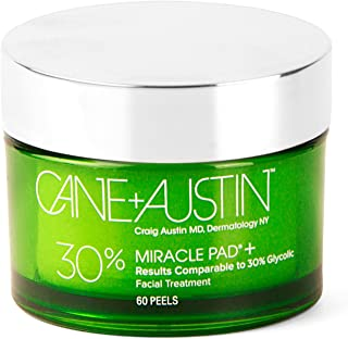 CANE + AUSTIN Miracle Pad, Glycolic Acid Exfoliating Face Peel, Daily Facial Resurfacing Treatment Wipes, 6...