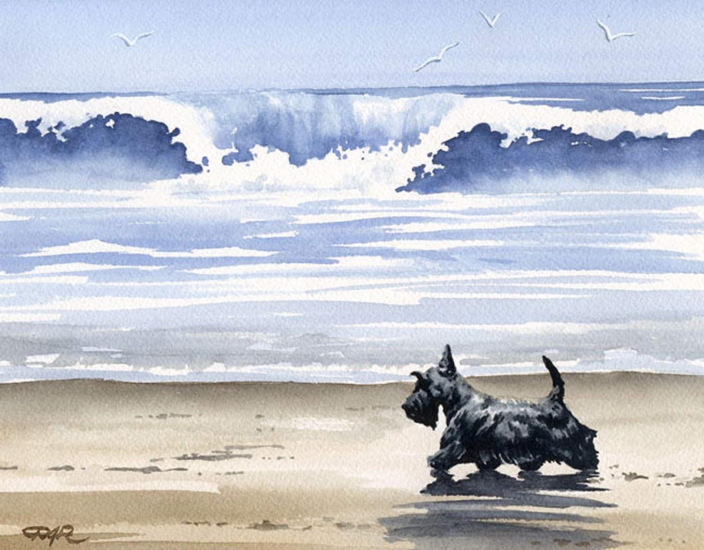 Black Scottish 通信販売 Terrier at The Beach by Art Print Watercolor 70%OFFアウトレット Arti