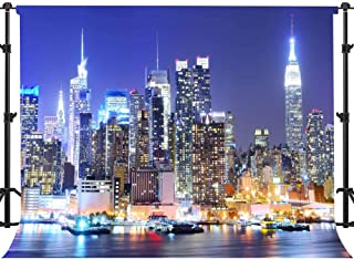 EARVO 7x5ft New York Manhattan Night Scenery Photography Background New York Themed Party YouTube Cotton Backdrop (Wrinkle Resistance) Studio Photo Props Wall Mural EA021