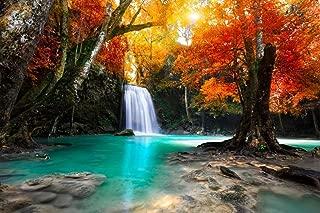 Beautiful Waterfall Surrounded by Autumn Foliage Photo Photograph Cool Wall Decor Art Print Poster 36x24