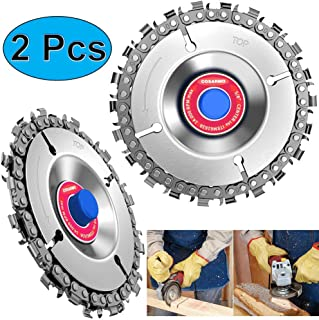 Circular Saw Blade 2pcs, Wood Cordless Saw Blades Cutter, 4 Inch Disc Plunge Cut Wheel, Chain 22 Teeth Fine Cutting Set for 100/115 Angle Grinder, Carbide Chop Saws for Plastic, Ice, Rubber