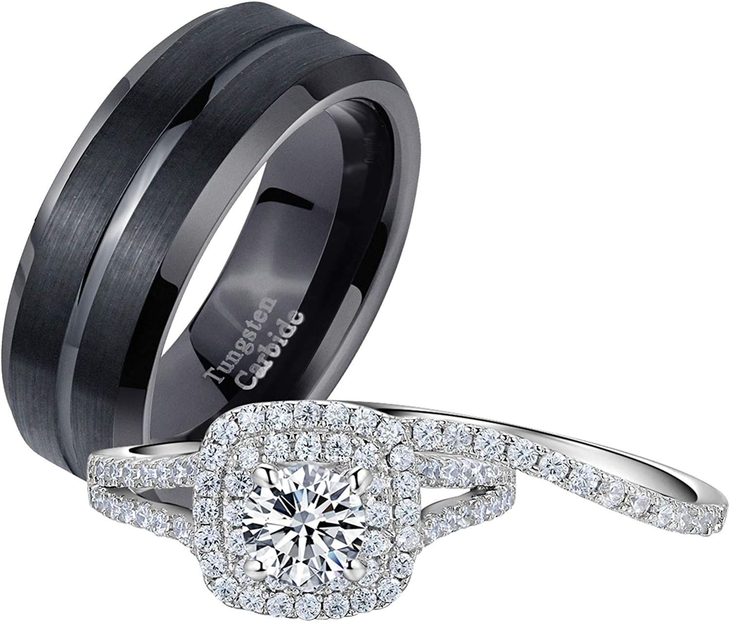 Newshe Wedding Ranking TOP9 Rings Set shipfree for Him Tungsten Mens Ban Her and Women