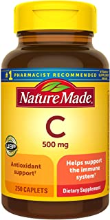Nature Made Vitamin C 500 mg Caplets, 250 Count to Help Support the Immune System