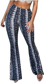 YGDH Pantalones Abajo Bohemia Hippie Flaco Miniatura Retro con Cintura Alta y Pantalones de Campana de Moda Impreso Amplio...