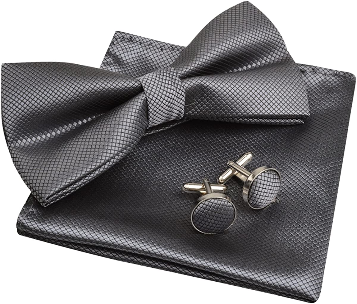 Mens Solid Formal Banded Pre-tied Bow Ties Set