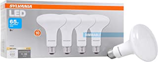 SYLVANIA, 65W Equivalent, LED Light Bulb, BR30 Lamp, 4 Pack, Soft White, Energy Saving & Dimmable, Value Series, Medium Base, Efficient 9W, 2700K
