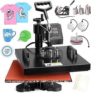 PNKKODW Máquina de prensa de calor Pro 8 en 1 de 15 x 15 pulgadas, 360 grados de sublimación digital, multifunción, combo ...