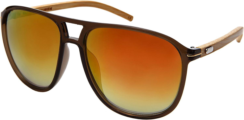Edge IWear Large Retro Wooden Bamboo Sunglasses Aviators Women Men Mirrored Lens with Case M541088BMREV3(CLBRN.rrev)