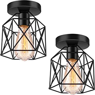 XIPUDA Semi-Flush Mount Ceiling Light E26 Bulb Industrial Style Wall lamp for Bedroom Cloakroom Living Room Decoration Vanity Lights Pendant Light Fixture(2 Pack, Cage Only)